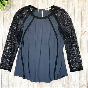 REBECCA TAYLOR Grey/Black Lace Sleeve Blouse